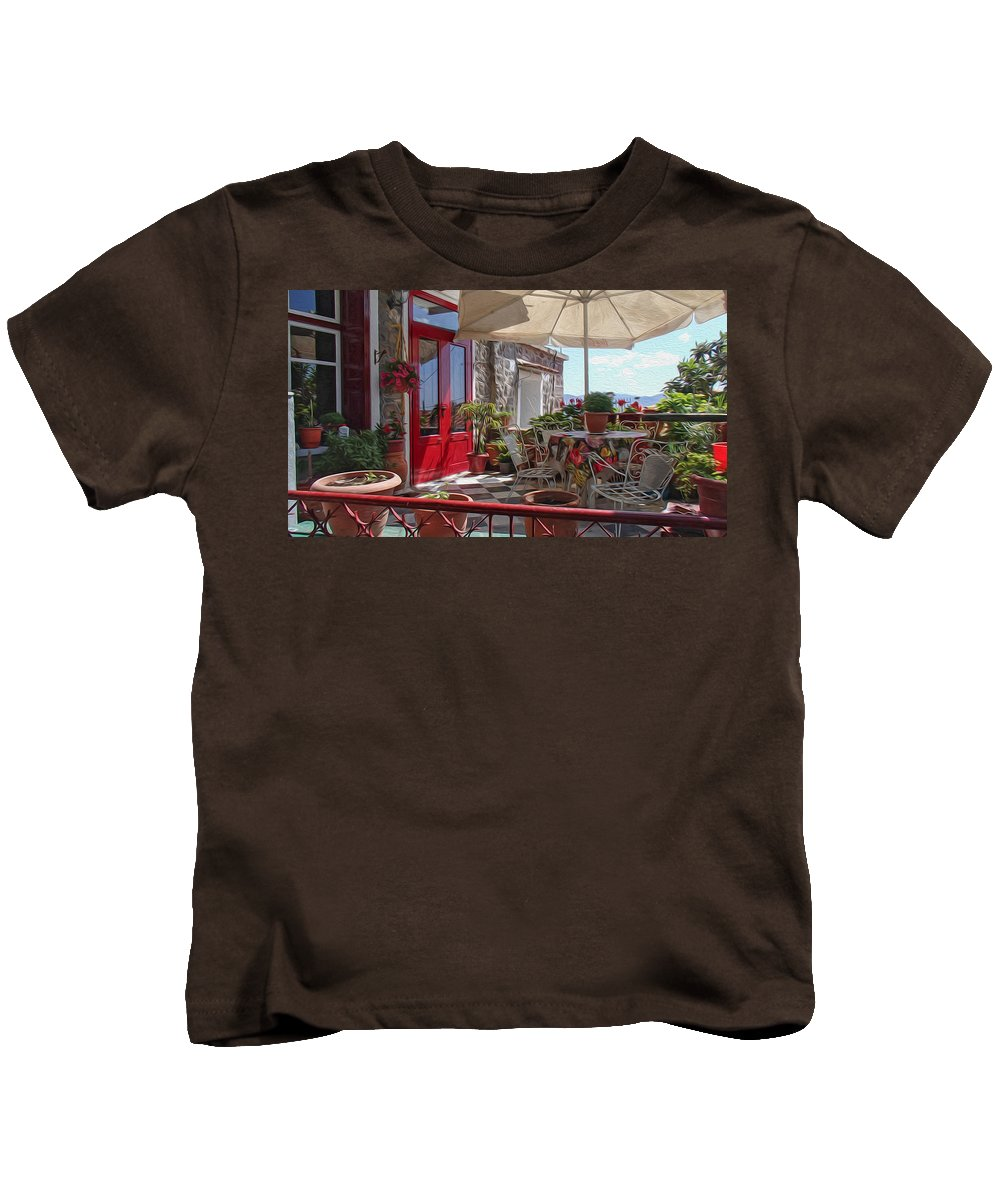 Architecture Kids T-Shirt featuring the digital art Patio by Roy Pedersen