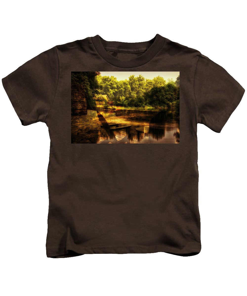 Ambience Kids T-Shirt featuring the photograph Patio Seating At The Nature Center Merged Image by Thomas Woolworth