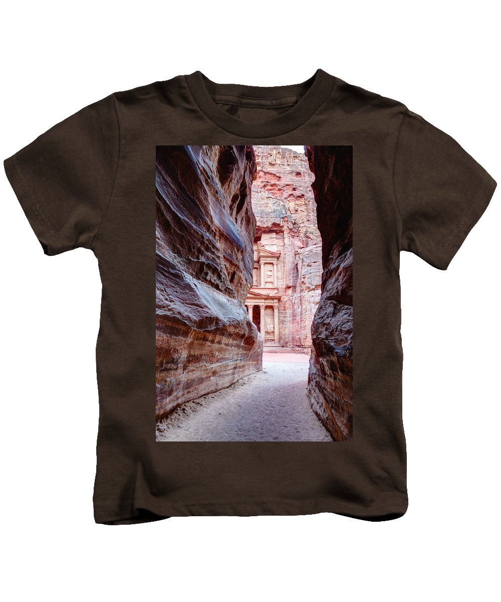 Petra Kids T-Shirt featuring the photograph Peeking Through by Alexey Stiop