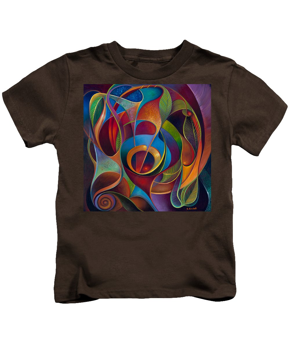 Curvismo Kids T-Shirt featuring the painting Perplexity by Claudia Goodell