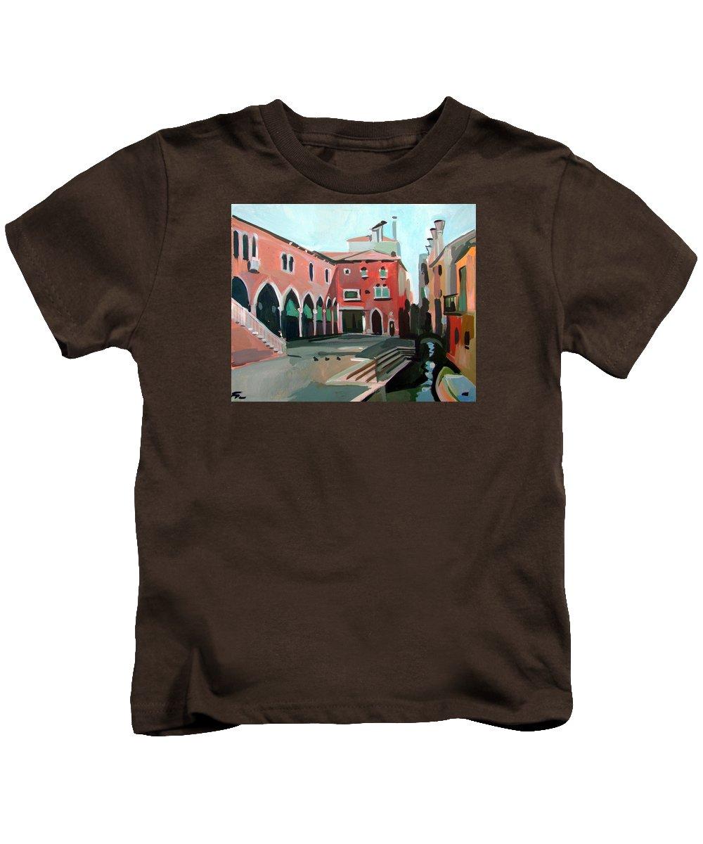 Venice Kids T-Shirt featuring the painting Pescheria by Filip Mihail