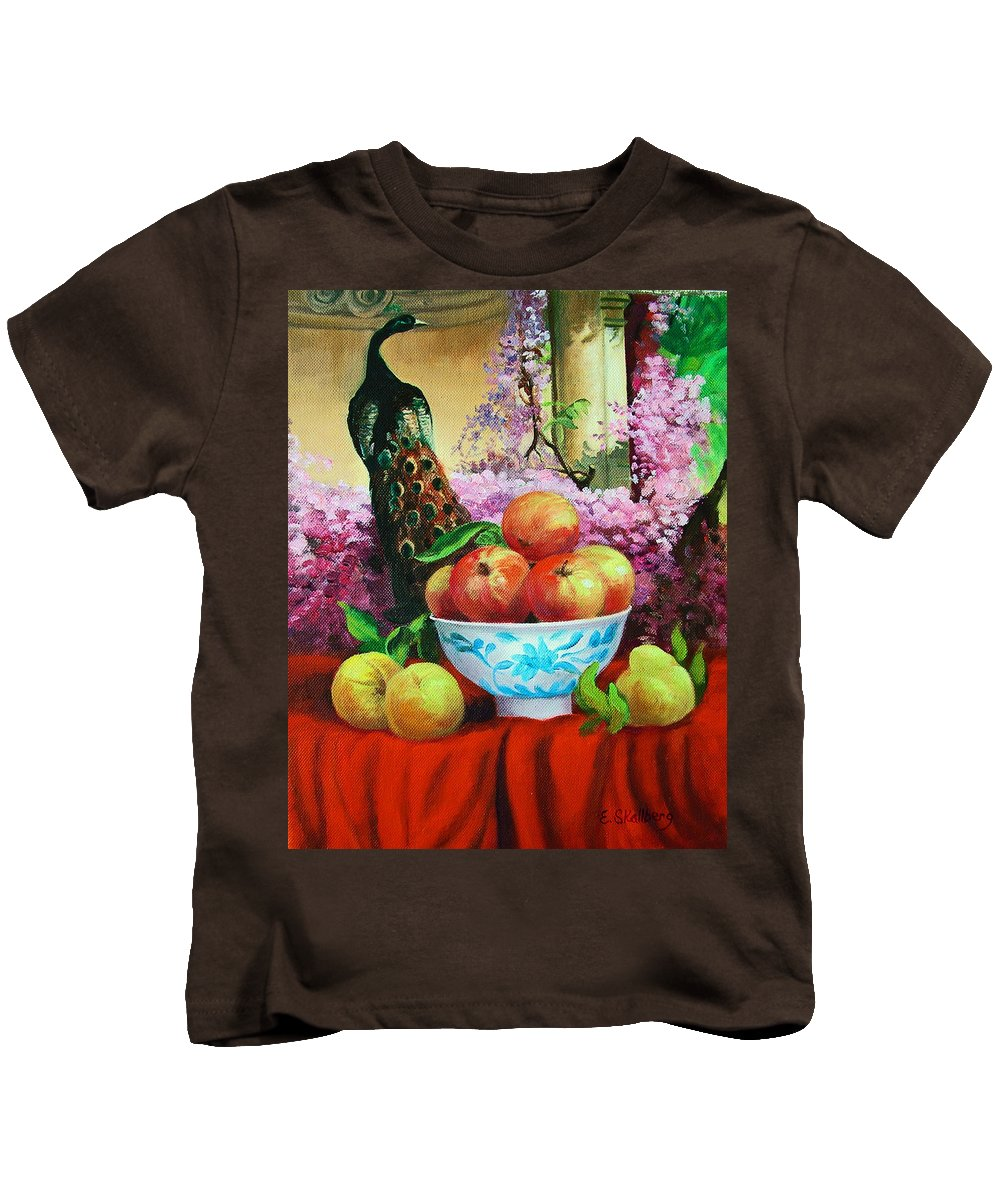 Still Life And Fruit Kids T-Shirt featuring the painting Pheasant And Fruit by Edward Skallberg
