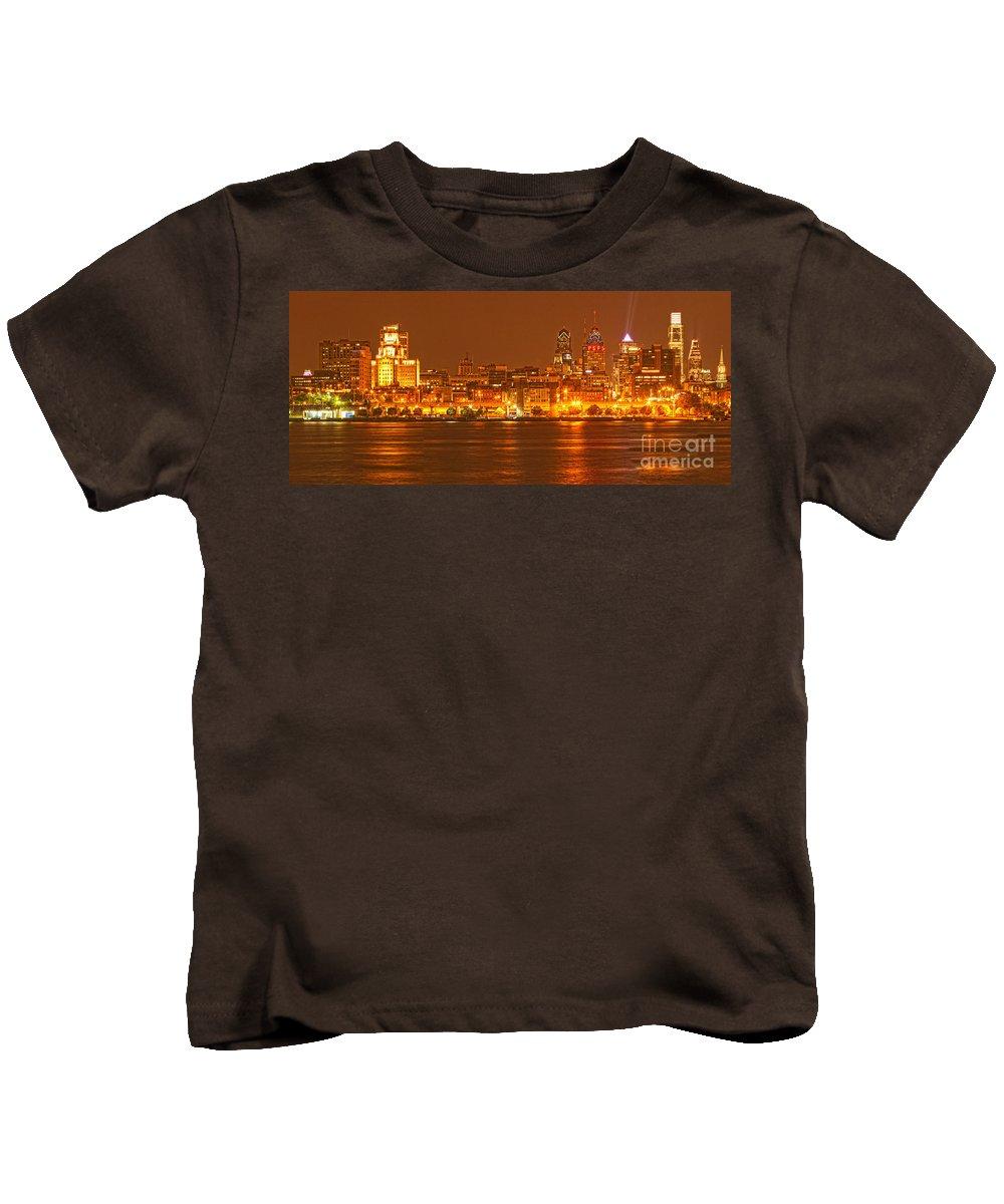 Philadelphia Skyline Kids T-Shirt featuring the photograph Philadelphia Across The Delaware by Adam Jewell