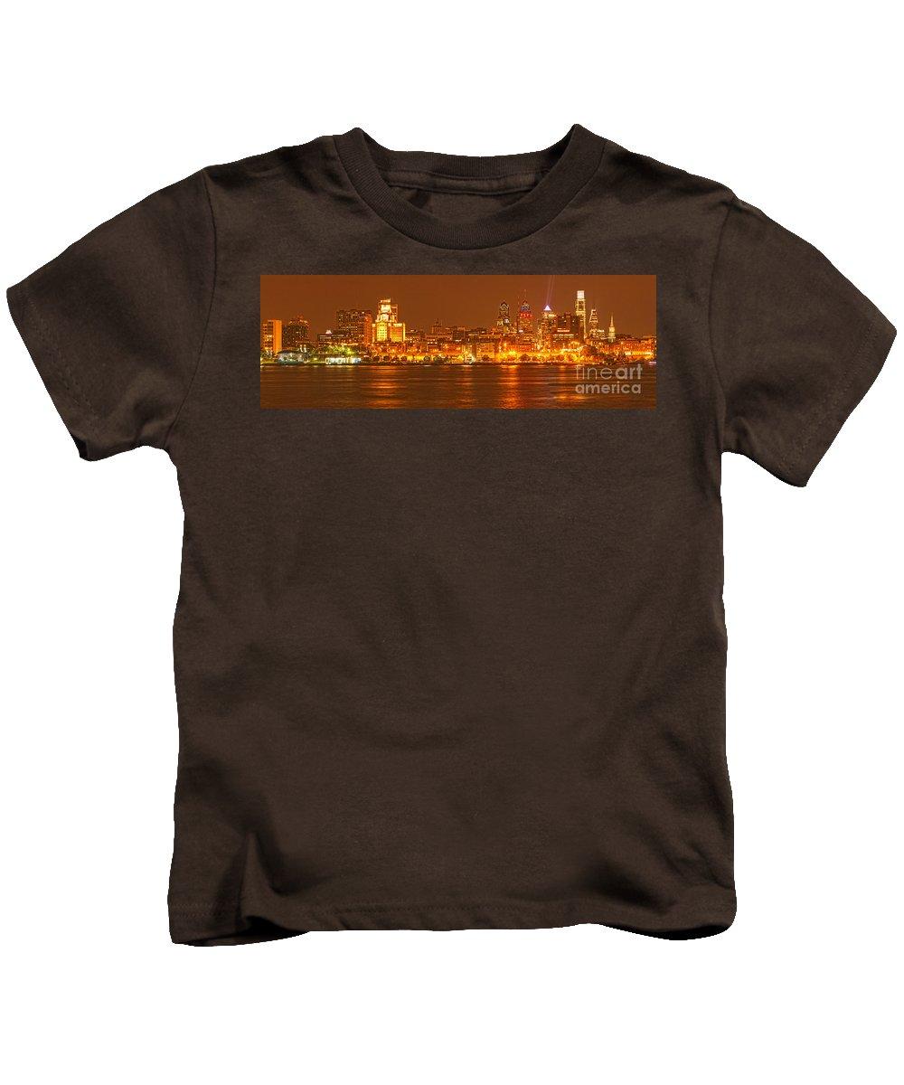 Ben Franklin Panorama Kids T-Shirt featuring the photograph Philadelphia Skyline Panorama by Adam Jewell