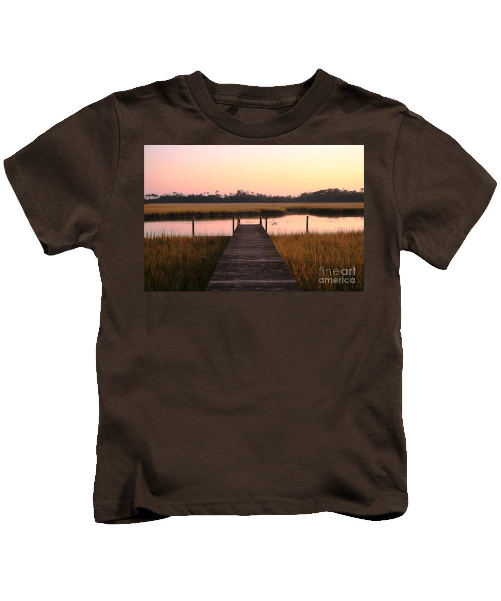 Pink Kids T-Shirt featuring the photograph Pink And Orange Morning On The Marsh by Nadine Rippelmeyer