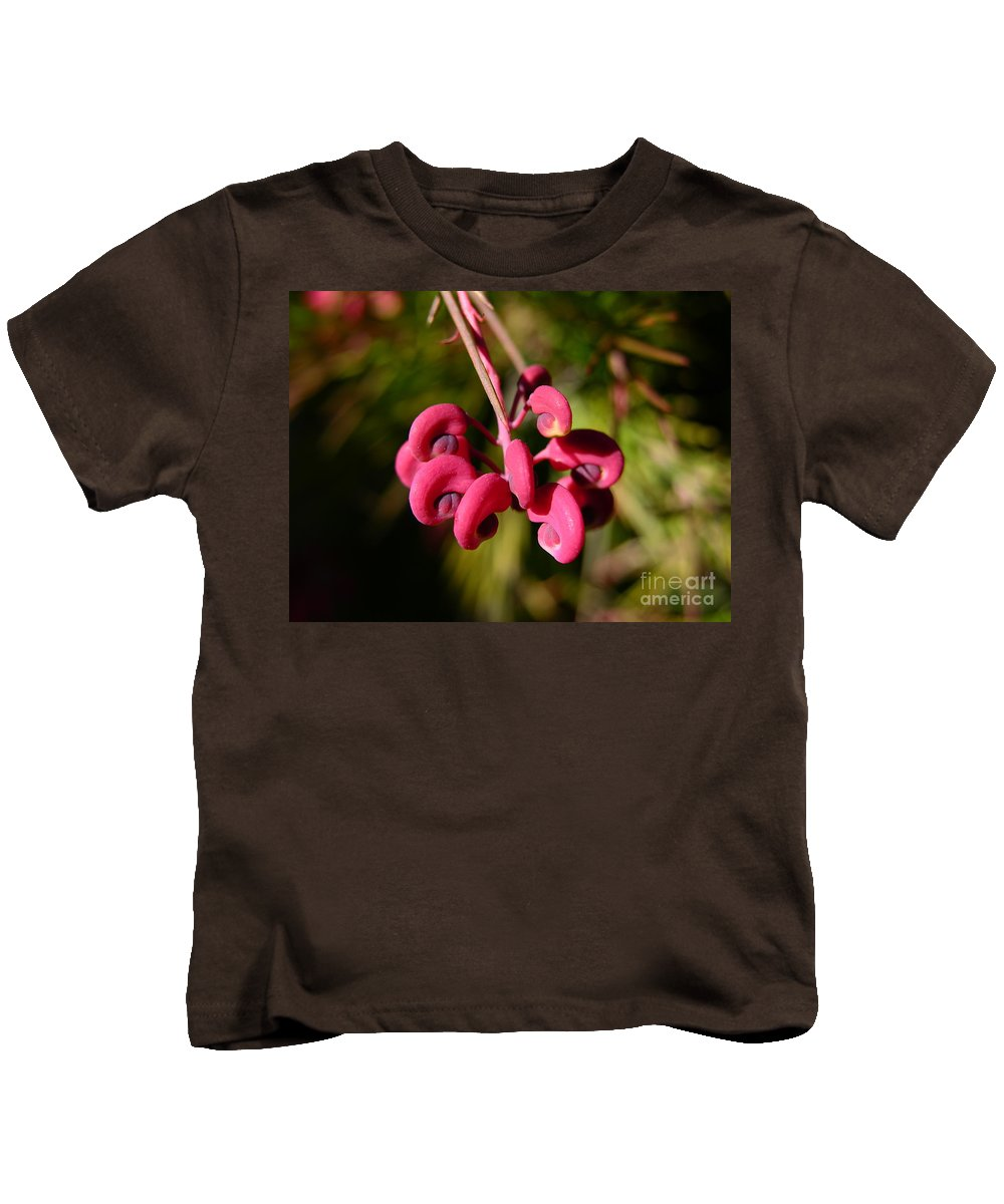 Flower Macro Kids T-Shirt featuring the photograph Pink Curls - Flower Macro by Carol Groenen