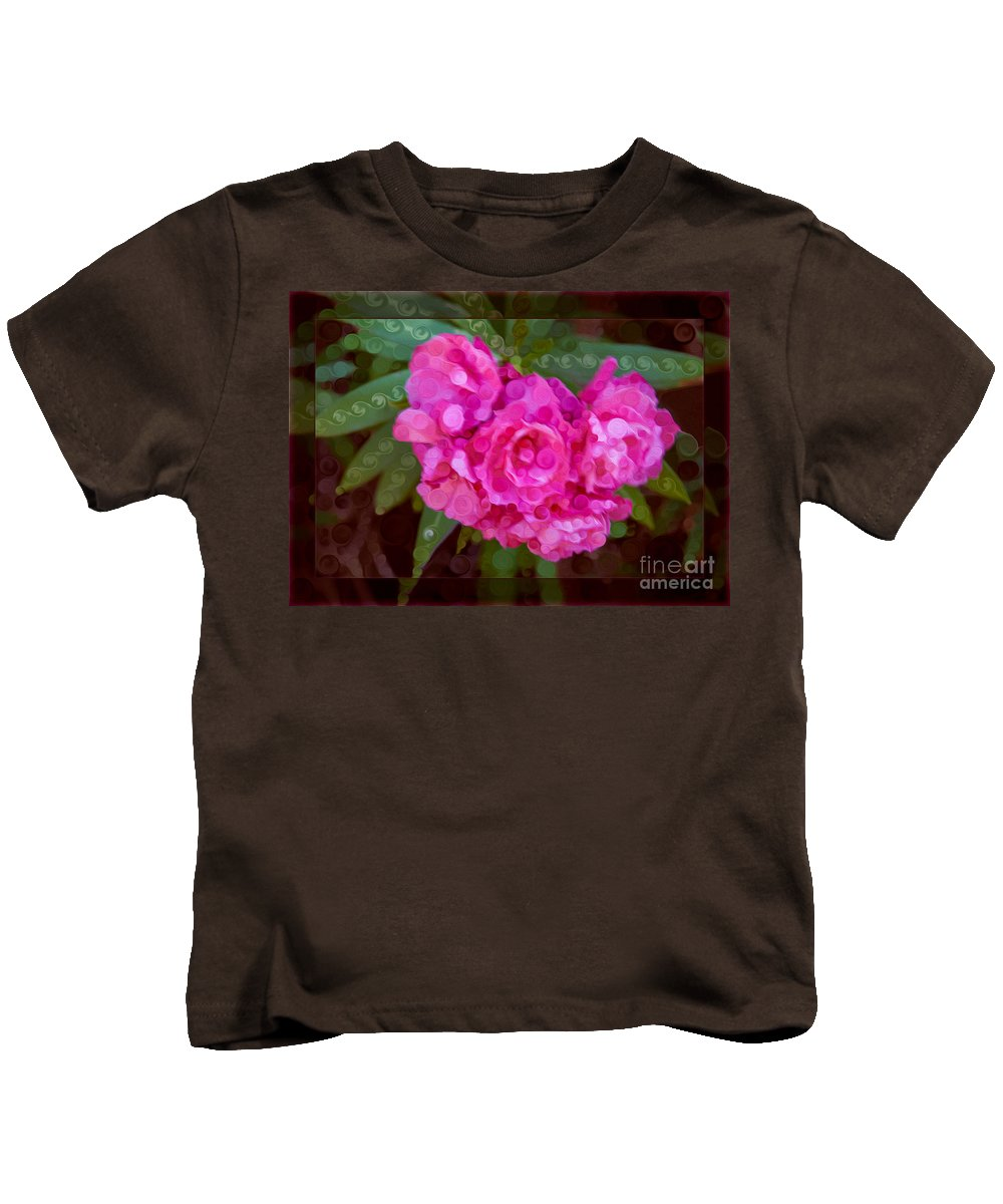 5x7 Kids T-Shirt featuring the painting Pink Plumeria Abstract Flower Painting by Omaste Witkowski