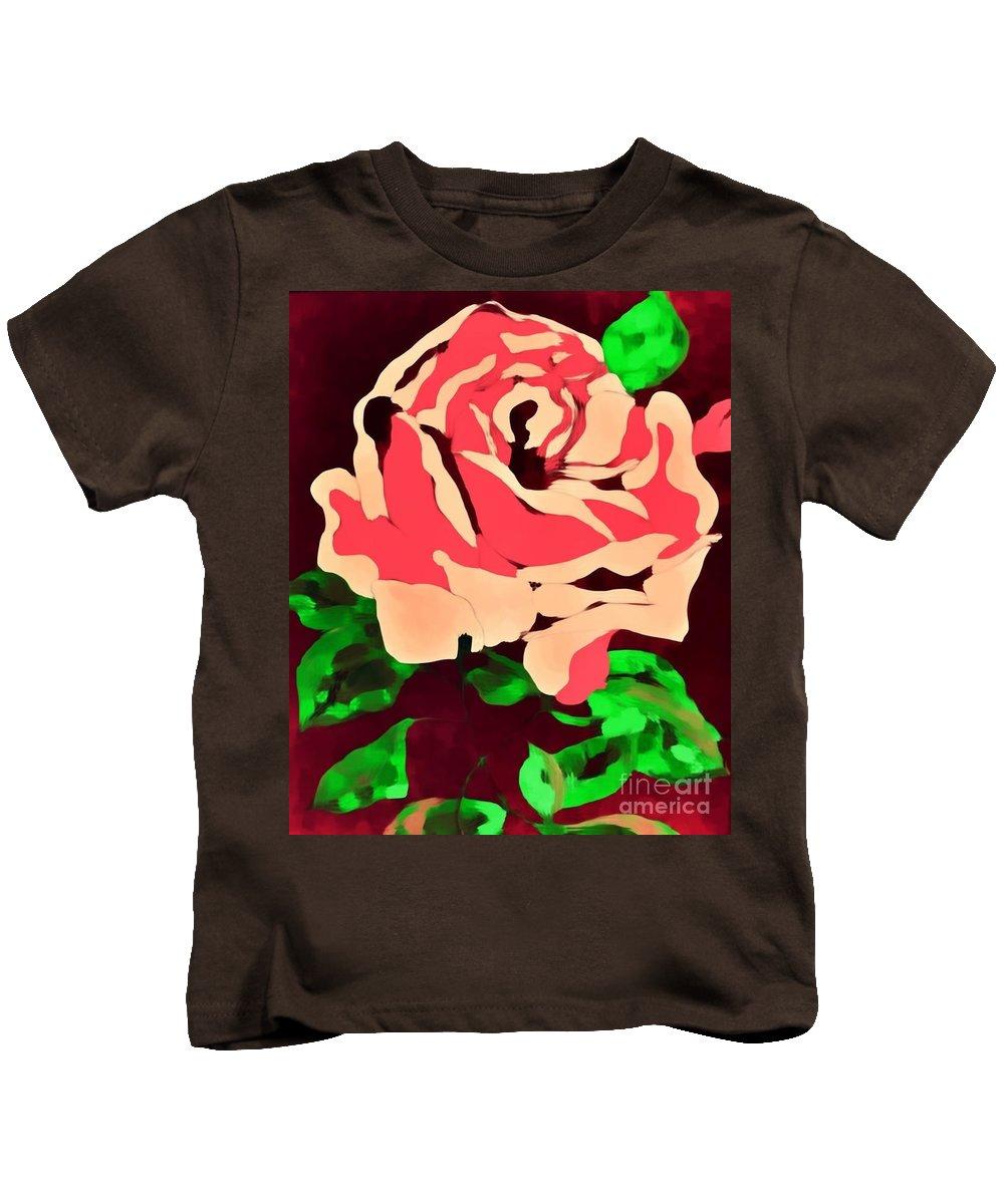Pink Rose Impression Kids T-Shirt featuring the painting Pink Rose Impression by Saundra Myles