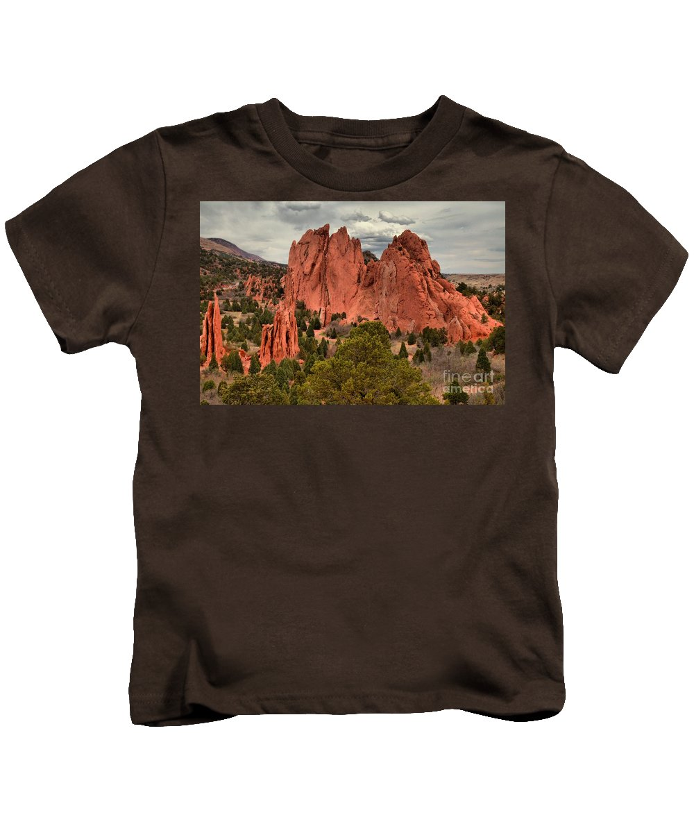 Garden Of The Gods Kids T-Shirt featuring the photograph Pink Towers Of The Gods by Adam Jewell