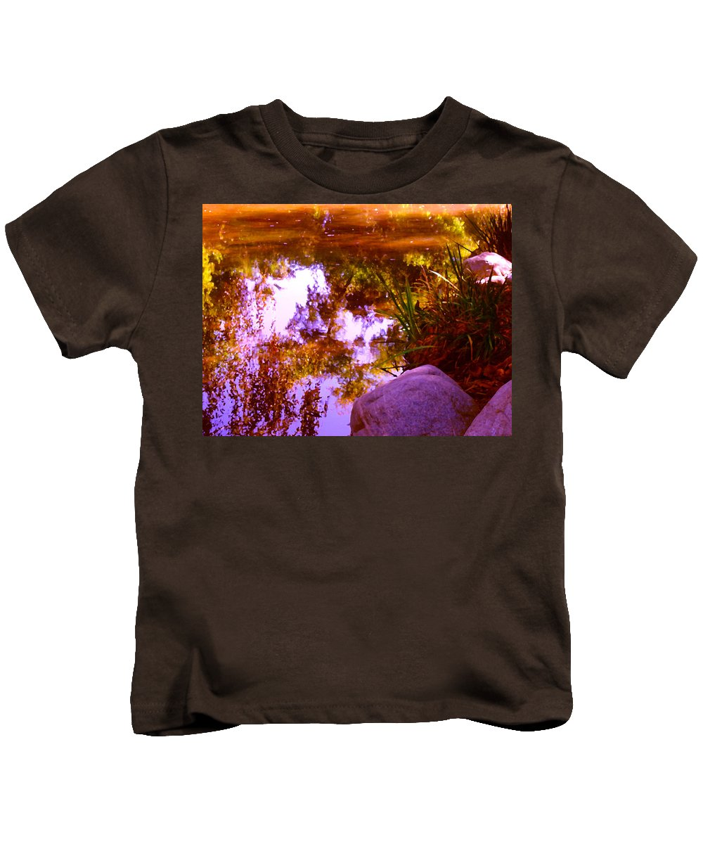 Landscapes Kids T-Shirt featuring the painting Pond Reflextions by Amy Vangsgard