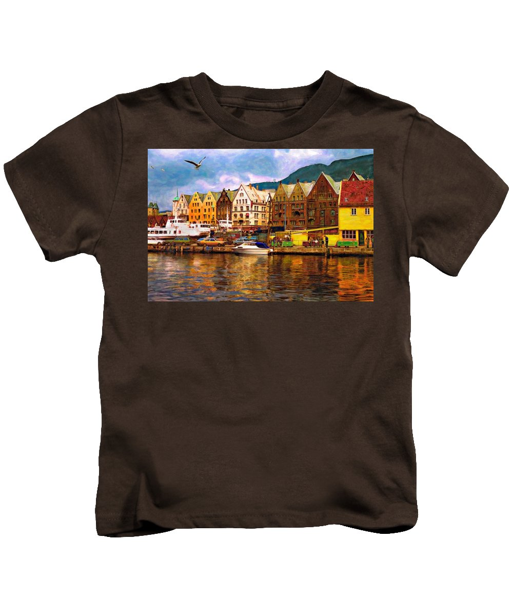 Alesund Kids T-Shirt featuring the photograph Port Life Watercolor by Steve Harrington