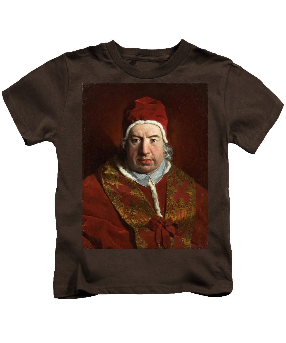 Pierre Subleyras Kids T-Shirt featuring the painting Portrait Of Benedict Xiv by Pierre Subleyras