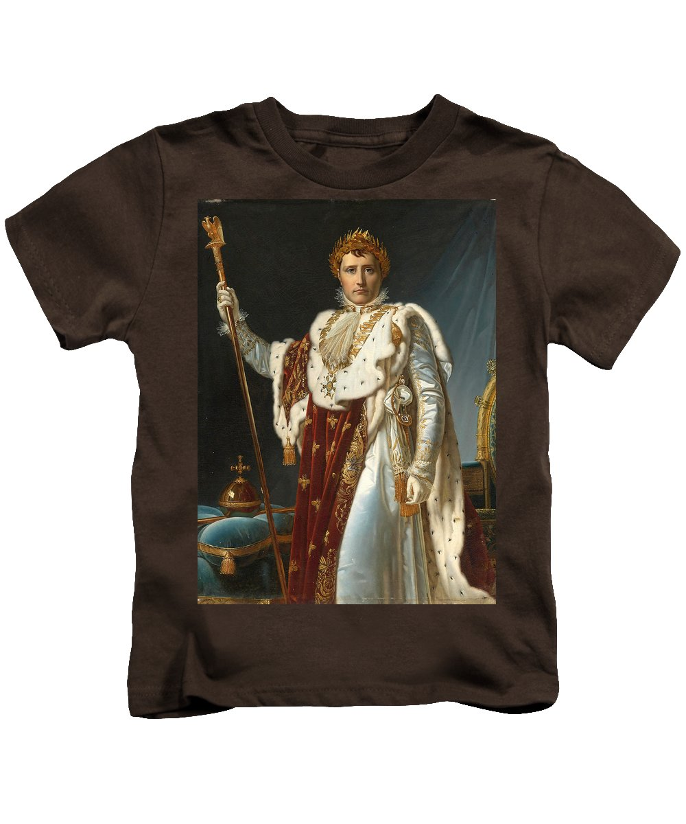 Francois Gerard Kids T-Shirt featuring the painting Portrait Of Napoleon In Coronation Robes by Francois Gerard