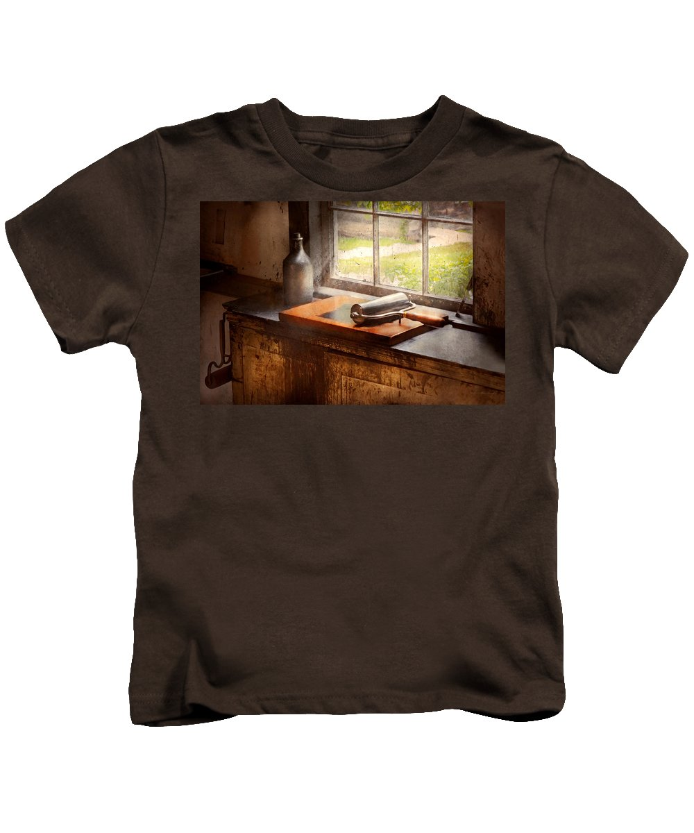 Roller Kids T-Shirt featuring the photograph Printer - A Hope And A Brayer by Mike Savad