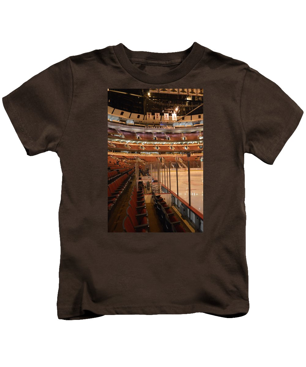 Chicago Blackhawks Kids T-Shirt featuring the photograph Quite Time Chicago United Center Before The Gates Open Vertical by Thomas Woolworth