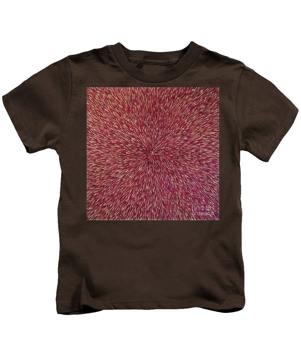 Abstract Kids T-Shirt featuring the painting Radiation With Brown Magenta And Violet by Dean Triolo
