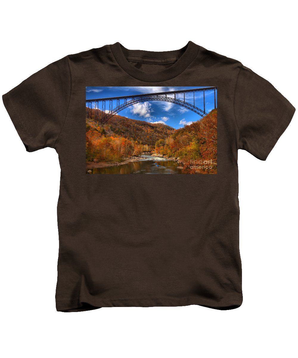 Rafting Kids T-Shirt featuring the photograph Rafting Down The New River Gorge by Adam Jewell