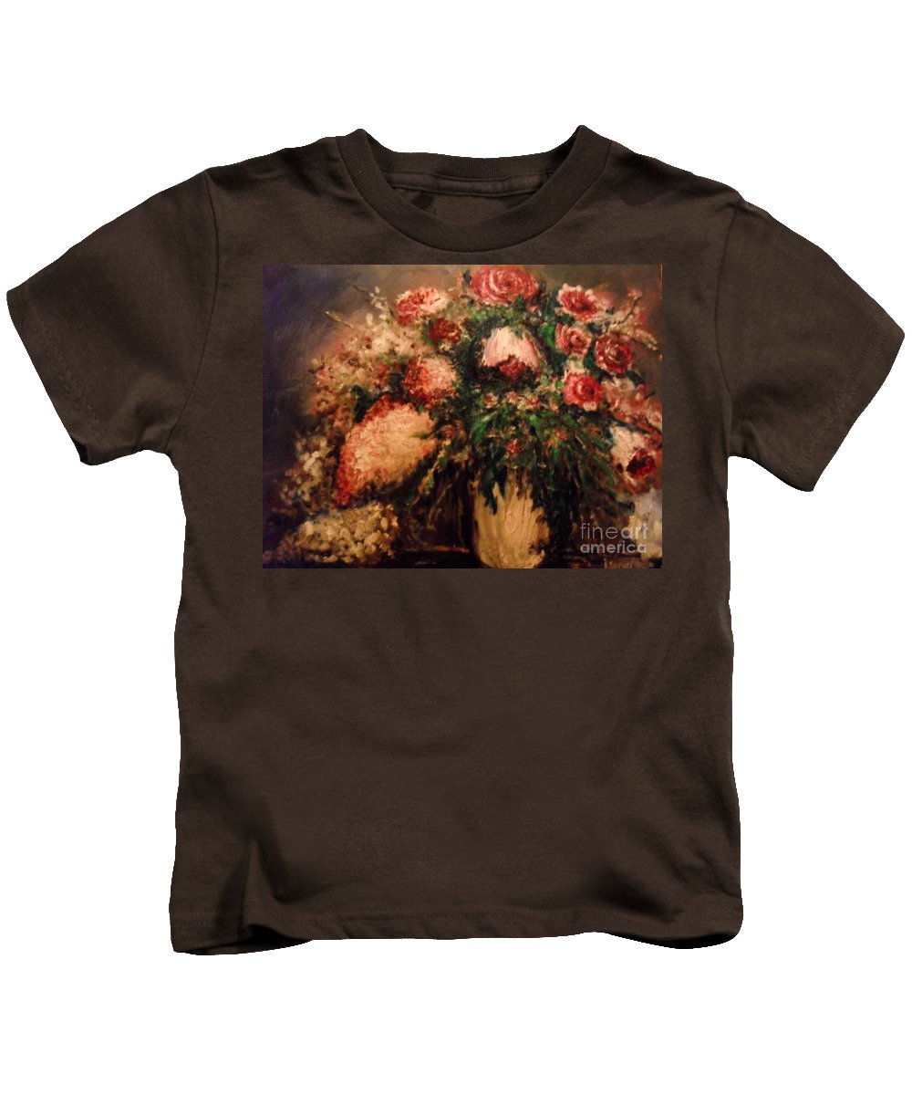 Flowers Kids T-Shirt featuring the painting Raspberry Jammies by Laurie Lundquist