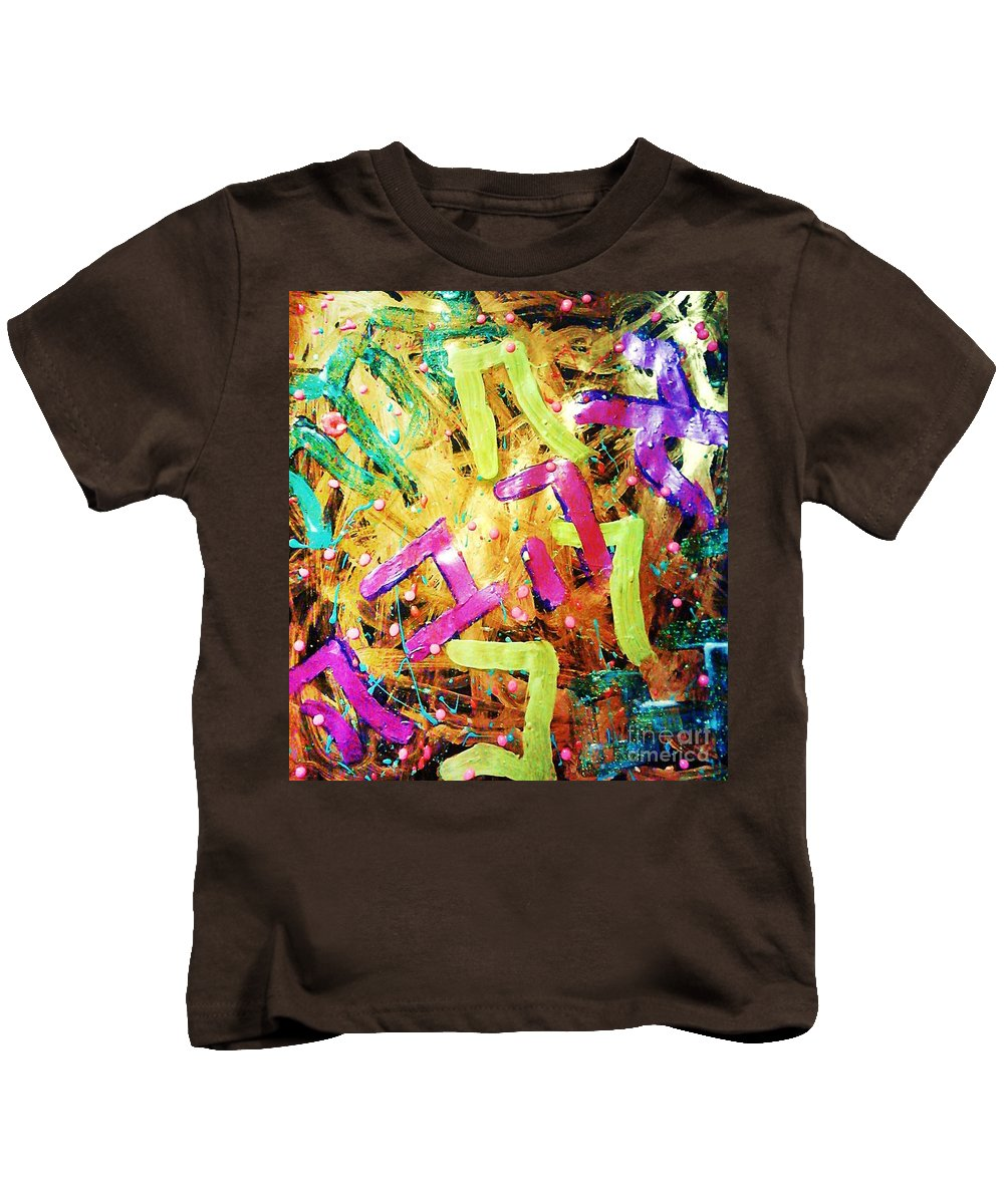 Painting Kids T-Shirt featuring the mixed media Raw by Alexander Ladd
