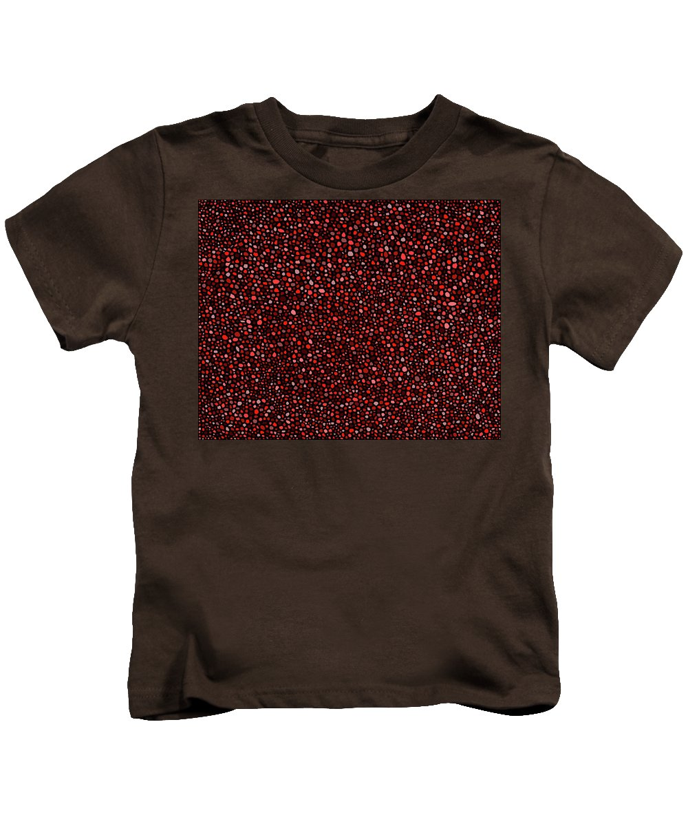 Red Kids T-Shirt featuring the digital art Red And Black Circles by Janice Dunbar