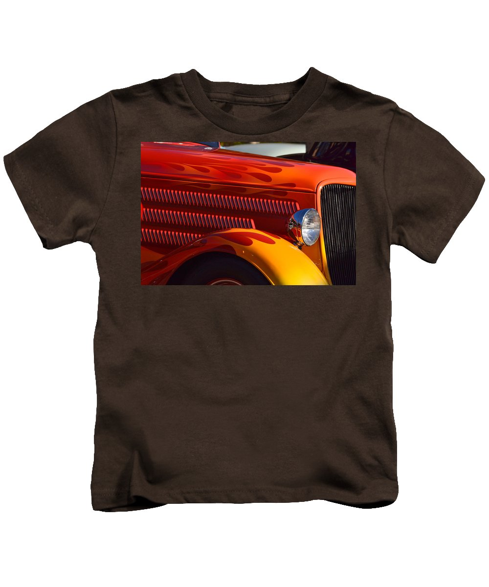 Kids T-Shirt featuring the photograph Red Orange And Yellow Hotrod by Dean Ferreira