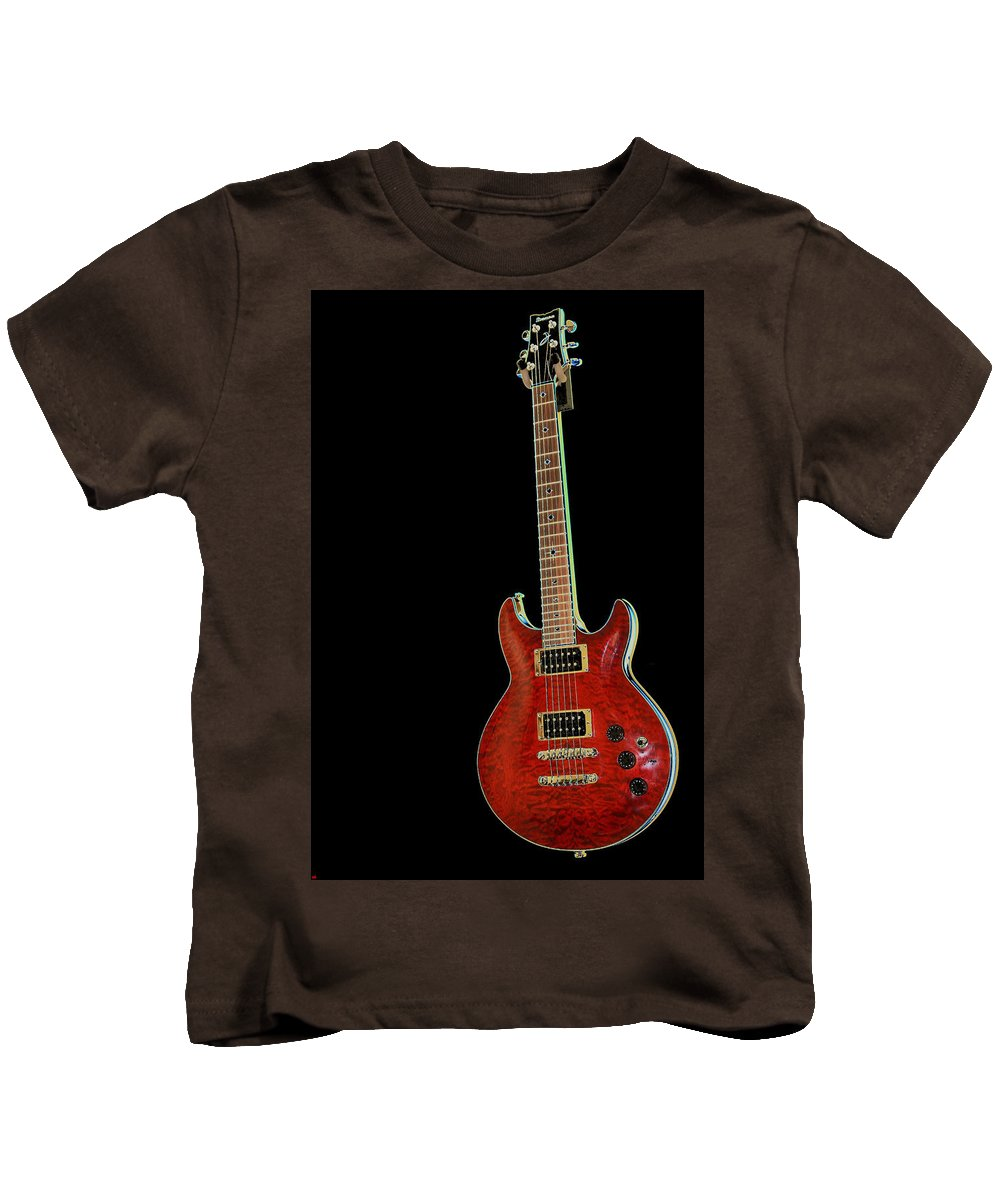 Guitar Kids T-Shirt featuring the photograph Red Stands Out by Karol Livote