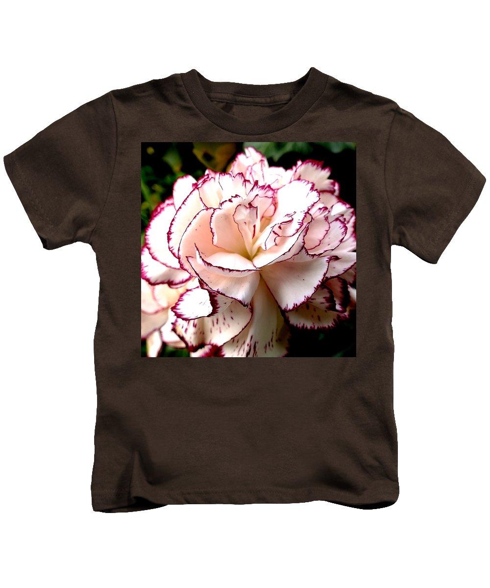 Carnation Flower Petal Nature Pettingell Peak Garden Buttonhole Kids T-Shirt featuring the photograph Reincarnation by Guy Pettingell