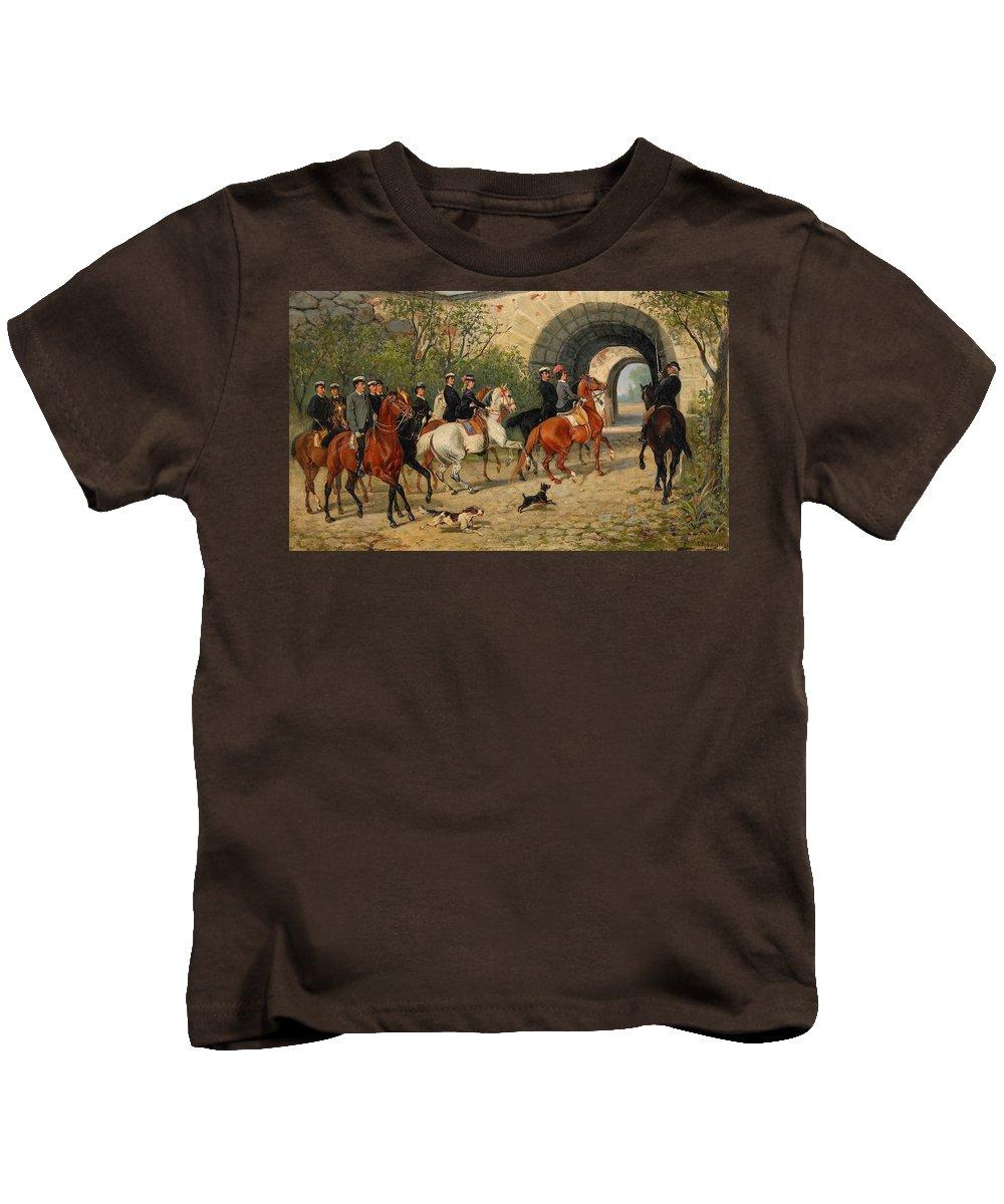 John Arsenius Kids T-Shirt featuring the painting Riders At Uppsala Castle by John Arsenius