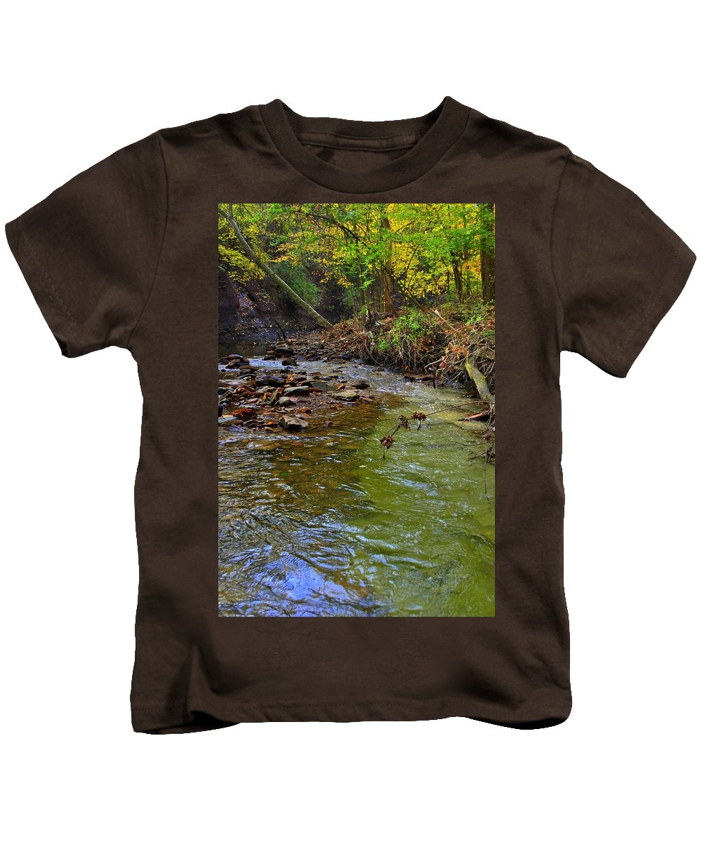 River Kids T-Shirt featuring the photograph River Bank by Frozen in Time Fine Art Photography