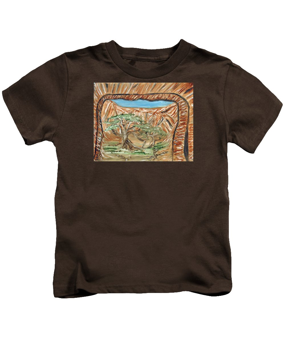 Rock Windows Kids T-Shirt featuring the painting Rock Windows by Suzanne Surber