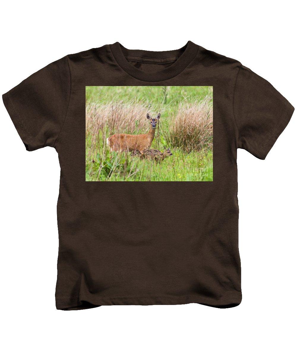 Roe Deer Kids T-Shirt featuring the digital art Roe Deer Capreolus Capreolus With Two Fawns by Liz Leyden