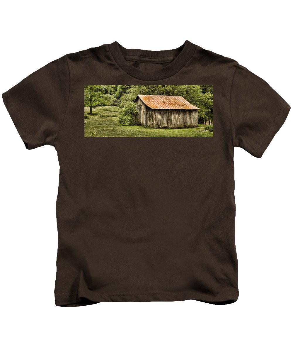 Barn Kids T-Shirt featuring the photograph Rustic by Heather Applegate