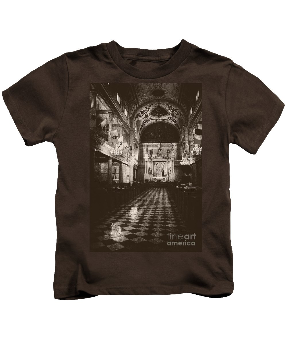 Church Kids T-Shirt featuring the photograph Saint Louis Cathedral New Orleans Black And White by Kathleen K Parker