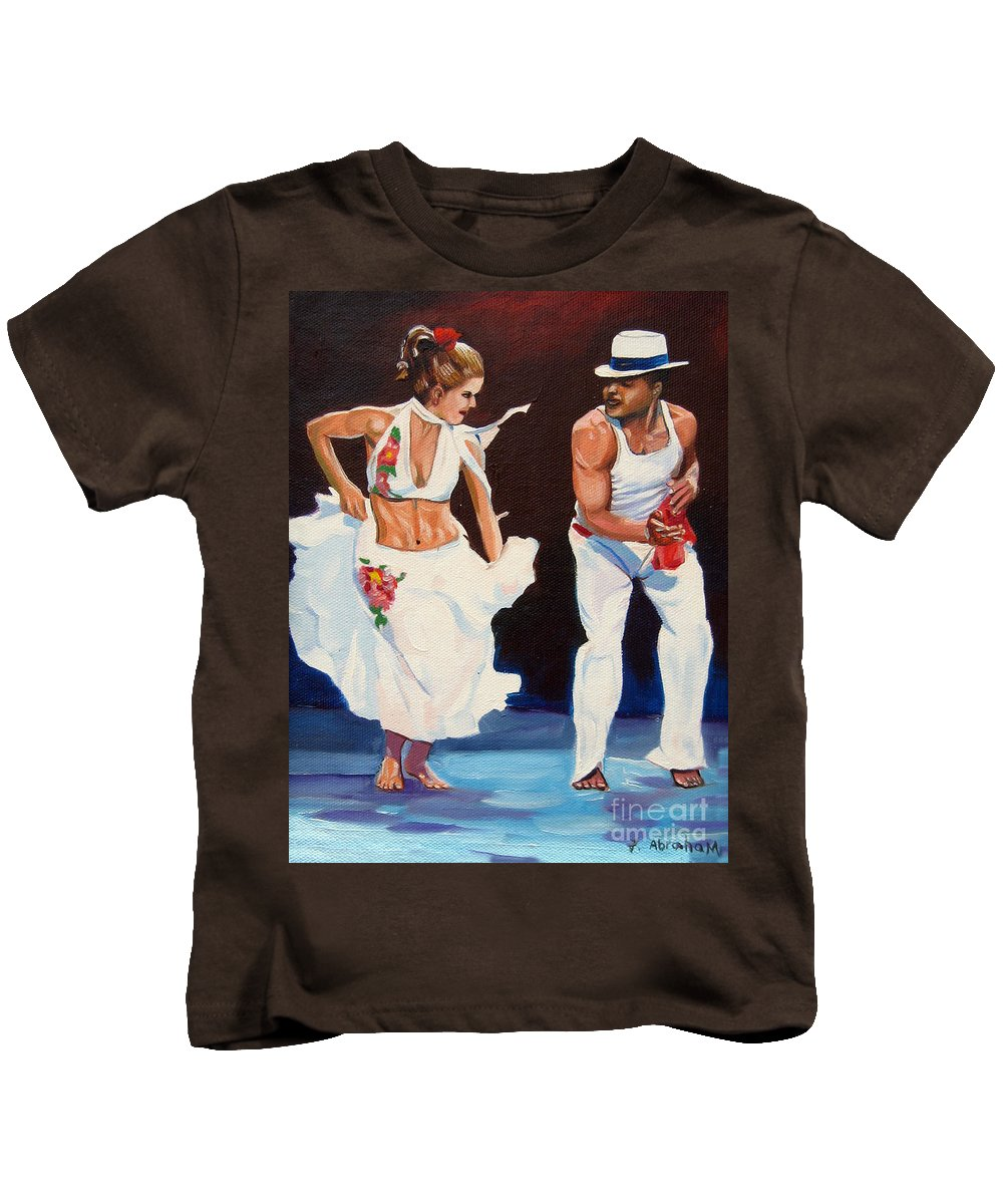 Dancing Kids T-Shirt featuring the painting Salsa by Jose Manuel Abraham