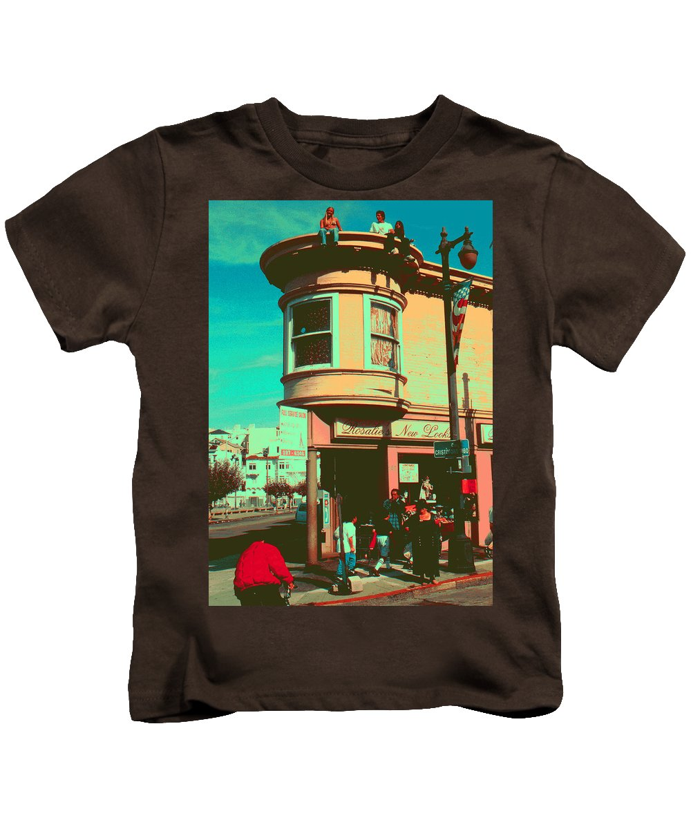 San+francisco Kids T-Shirt featuring the painting San Francisco 1968 Pop Art by Peter Potter