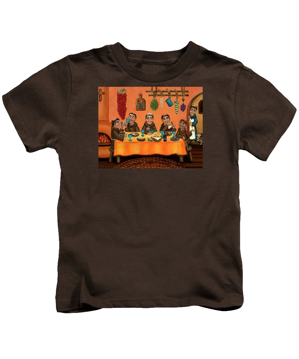 Hispanic Art Kids T-Shirt featuring the painting San Pascuals Table by Victoria De Almeida