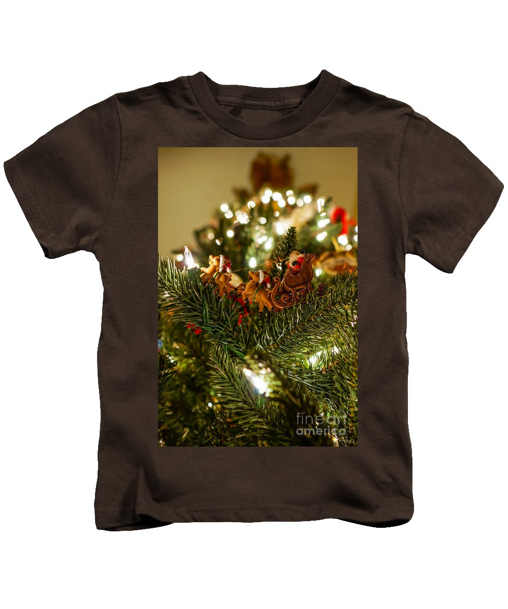 Christmas Kids T-Shirt featuring the photograph Santa And Sleigh by Jennifer White