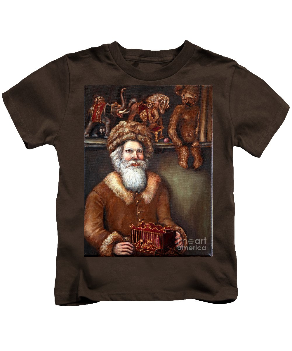 Holiday Art Kids T-Shirt featuring the painting Santas Special Toys by Portraits By NC