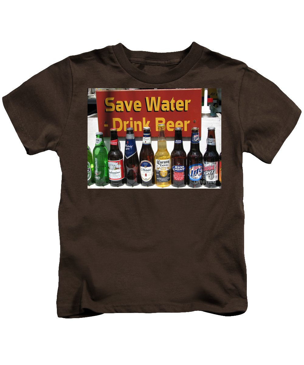 Fun Kids T-Shirt featuring the photograph Save Water Drink Beer by Stacey May