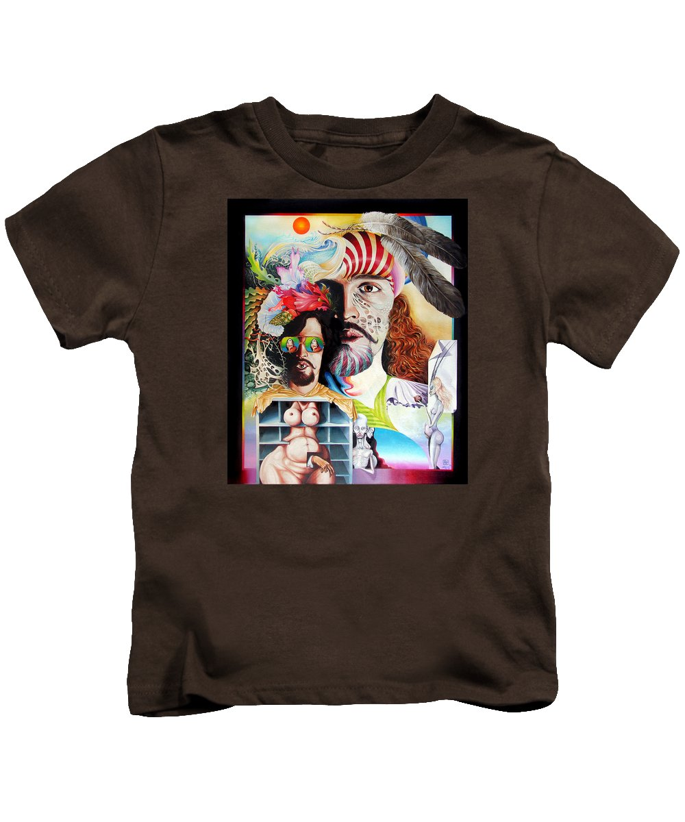 Surrealism Kids T-Shirt featuring the painting Selfportrait With The Critical Eye by Otto Rapp