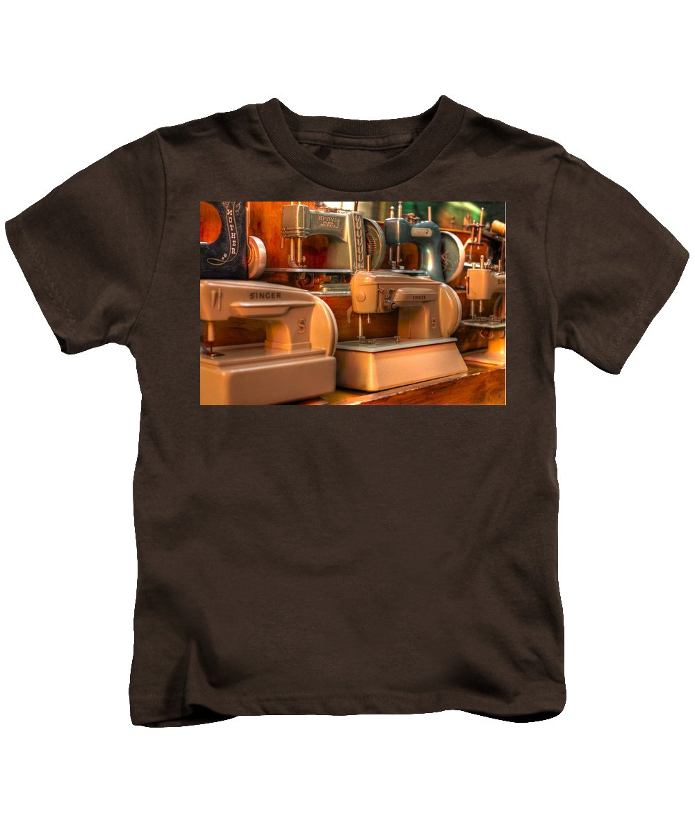 Sew Kids T-Shirt featuring the photograph Sewing Machine by Jane Linders