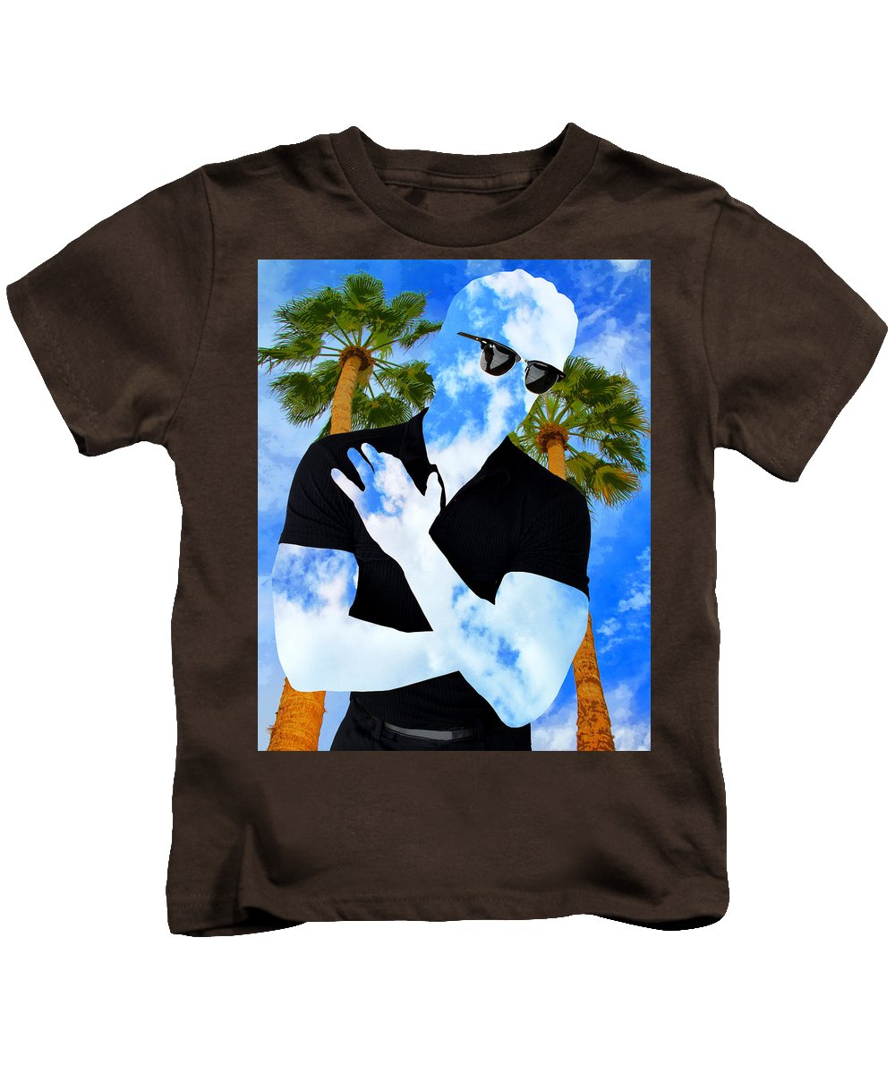 Man Kids T-Shirt featuring the photograph Shadow Man Palm Springs by William Dey