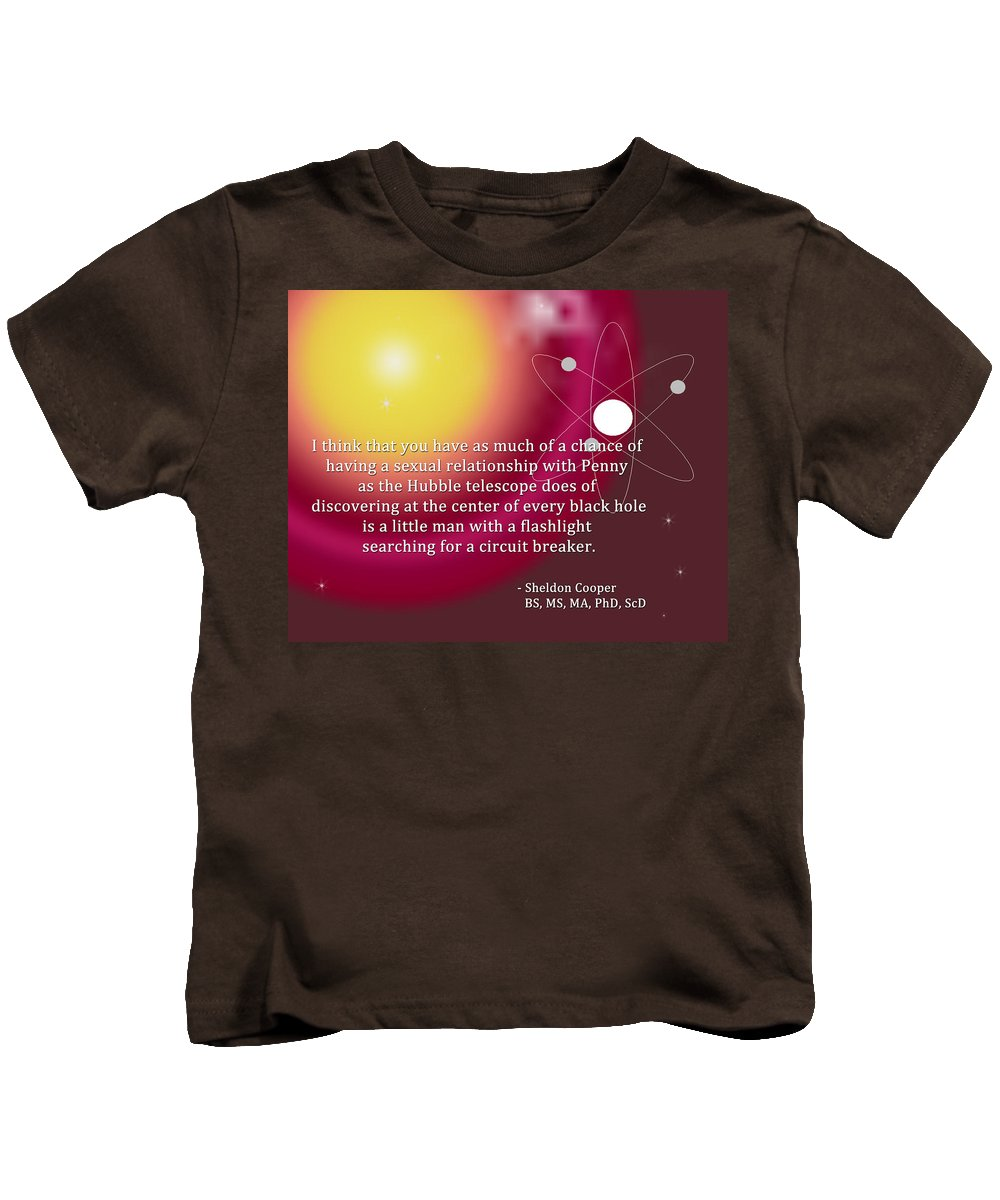 Featured Kids T-Shirt featuring the digital art Sheldon Cooper - The Center Of Every Black Hole by Paulette B Wright