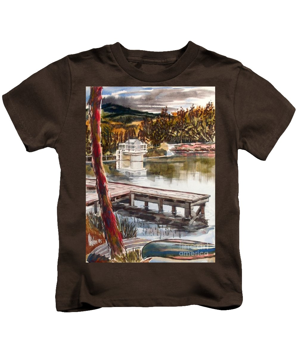 Shepherd Mountain Lake In Twilight Kids T-Shirt featuring the painting Shepherd Mountain Lake In Twilight by Kip DeVore