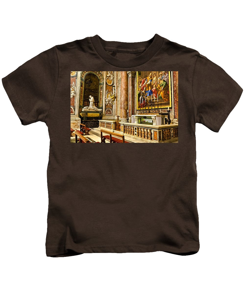 St Peters Kids T-Shirt featuring the photograph Side Altar In St Peters Basicilca by Jon Berghoff