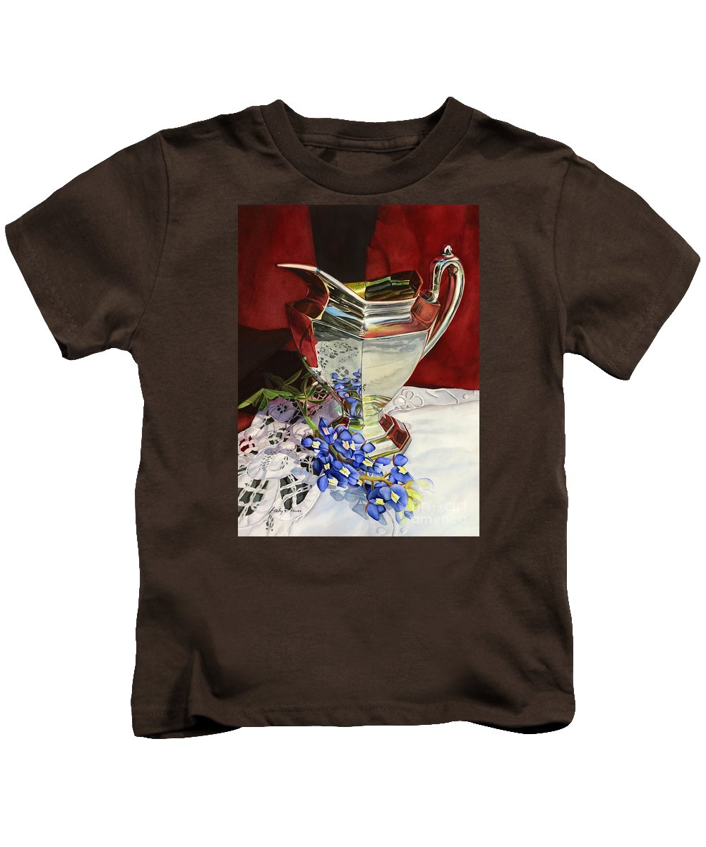 Silver Pitcher Kids T-Shirt featuring the painting Silver Pitcher And Bluebonnet by Hailey E Herrera