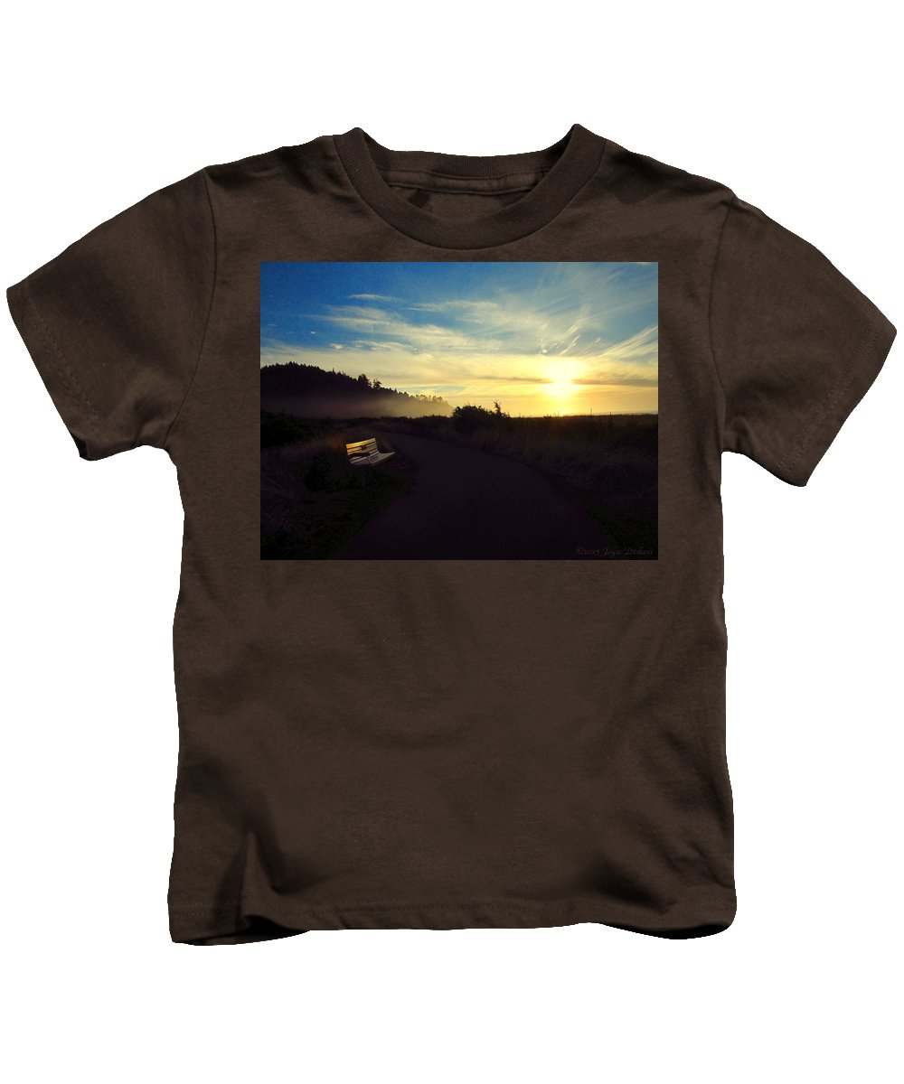 Sunset Kids T-Shirt featuring the photograph sit With Me And Watch The Sunset by Joyce Dickens
