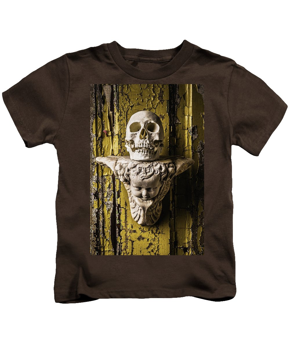 Skull Kids T-Shirt featuring the photograph Skull And Angel by Garry Gay