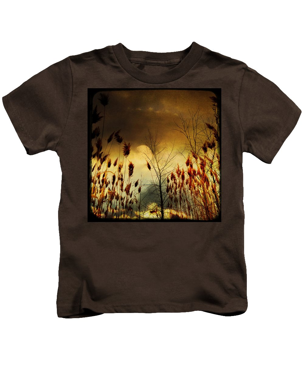 Grass Kids T-Shirt featuring the photograph Autumn Lights Sky Colors by Gothicrow Images