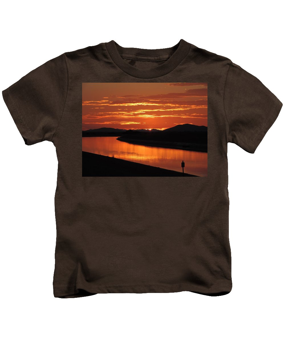 Sunrise Kids T-Shirt featuring the photograph Sky On Fire Again by Enaid Silverwolf
